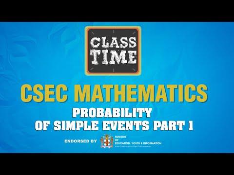 CSEC Mathematics - Probability of Simple Events Part 1 - February 8 2021