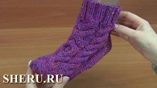 Теплые носки на двух спицах  Урок 193