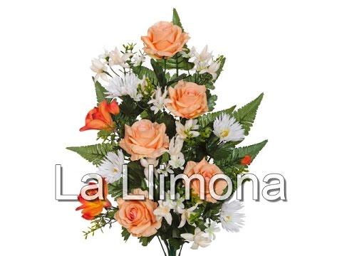 Ramos Artificiales Ramo Artificial Flores Rosas Salmón Y Alstromenias La Llimona