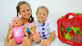 Игры для девочек: Уход за детьми. Кукла BABY BORN, Ксюша и Настя. Идем к врачу - Играем в Доктора(Лучшая подружка Настя сегодня совсем КАК МАМА. У ее малышки (кукла БЕБИ БОН) заболел животик и все вместе..., 2015-09-23T03:37:16.000Z)