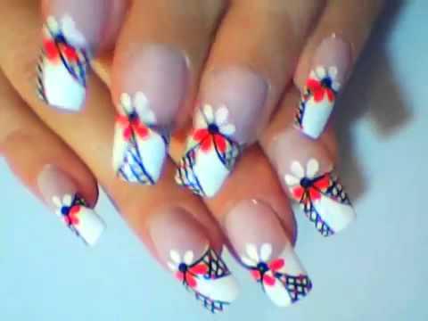 Nail art designs: Fuchsia french tip nail art tutorial, floral fun summer for beginners abstract eon