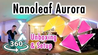 Nanoleaf Aurora SETUP in 360° | Unboxing, Review, HomeKit Demo with Siri, Animations Demo & Designs
