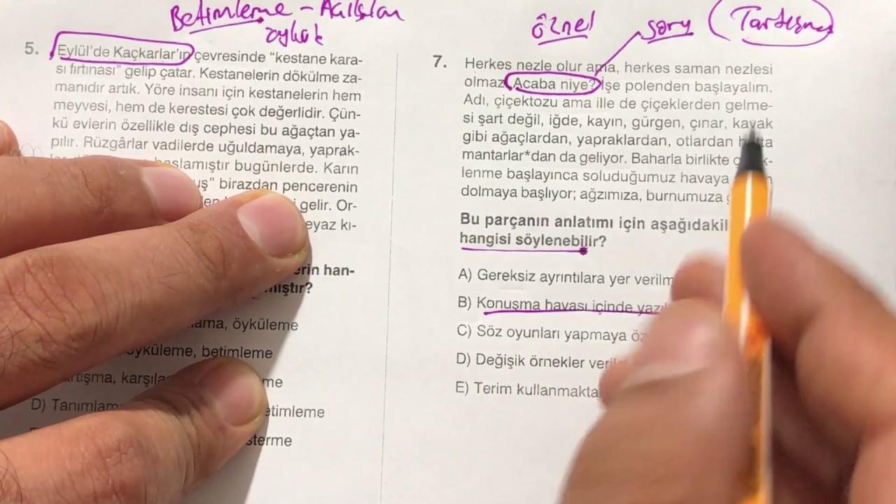 LGS 2022 Türkçe -  Anlatım Biçimleri ve Düşünceyi Geliştirme Yolları Konu Tekrarı Soru Çözümleri