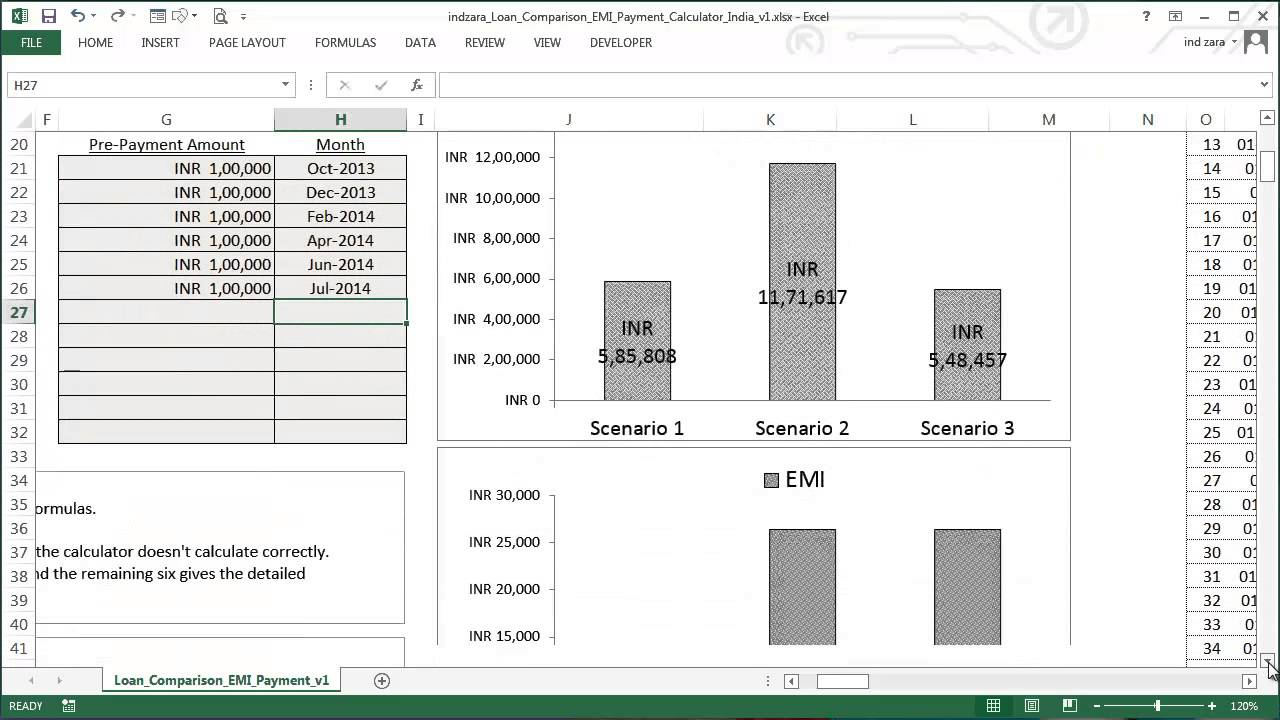 loan comparison and emi payment calculator excel template youtube