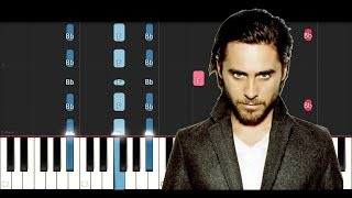 Thirty Seconds To Mars Walk On Water Piano Tutorial