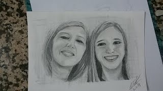 Speed Drawing: Portraits / Retratos para un cumple: Madre e hija