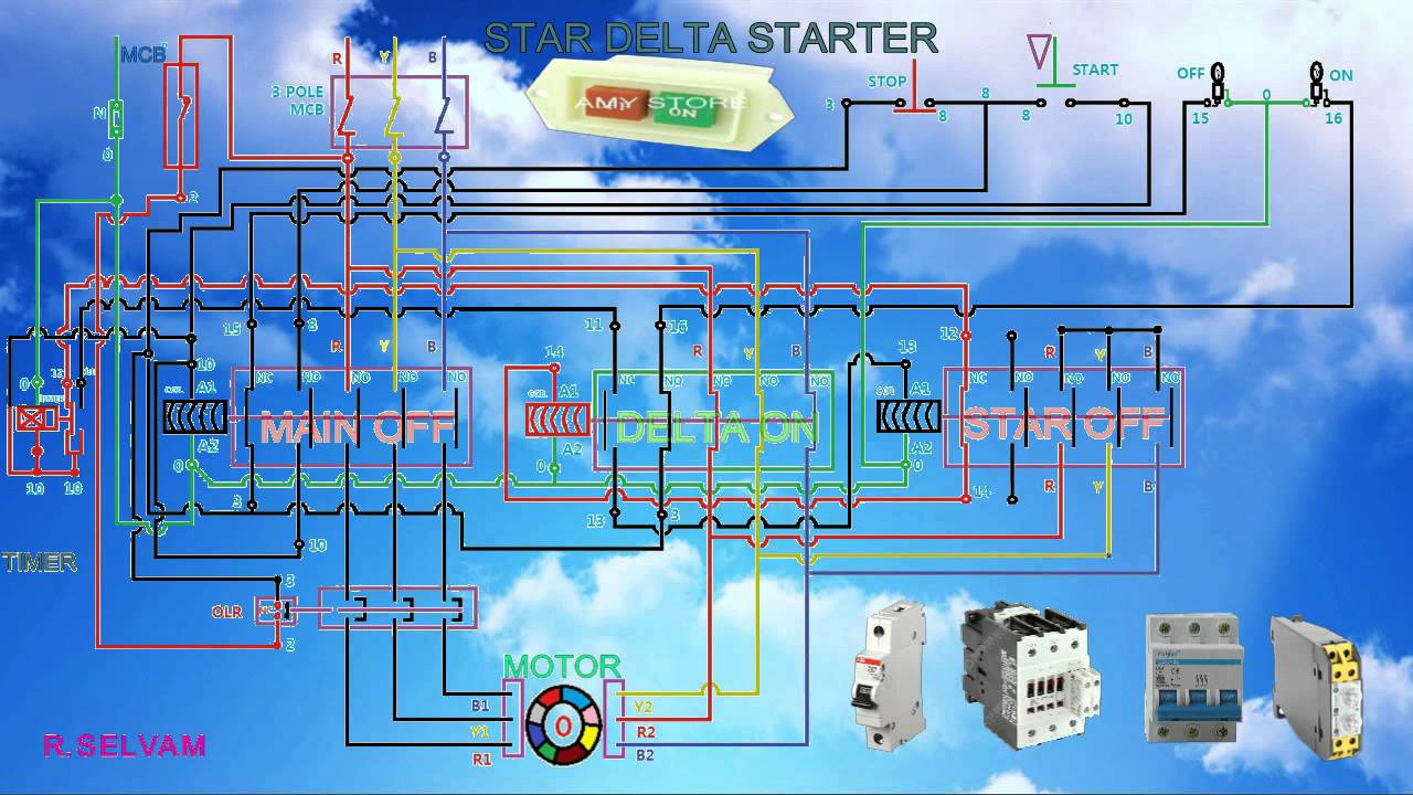 star delta starter working function and connection diagram youtube rh youtube com control circuit diagram of star delta starter pdf wiring diagram of star  [ 1280 x 720 Pixel ]