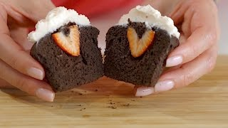 Stuffed Cupcakes: Classic Chocolate Cupcakes with Homemade Strawberry Frosting