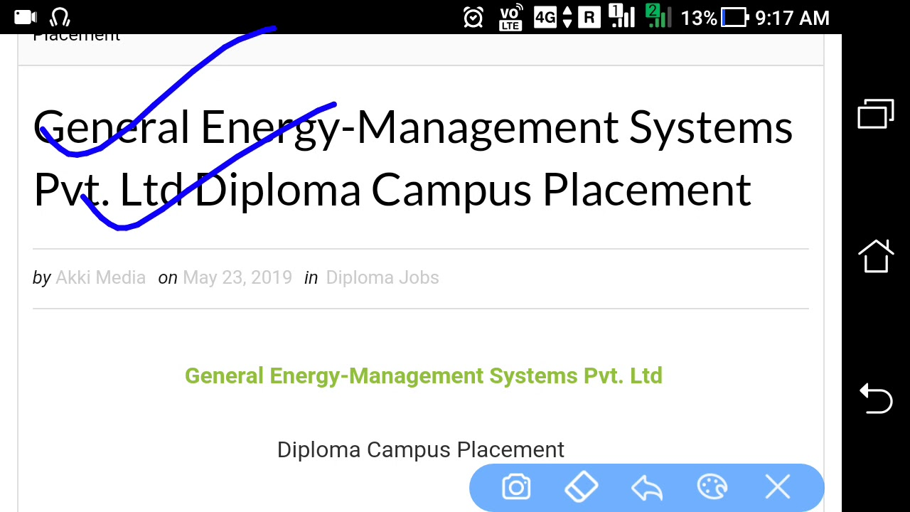 General Energy-Management Systems Pvt  Ltd Diploma Campus Placement