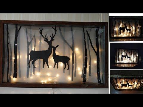 DIY Birch Tree With Deer Family/Old Photo Frame Reuse #CreativeMind #Deerlightshowpiece