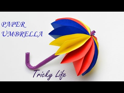 DIY| BEAUTIFUL PAPER UMBRELLA HANDMADE| PAPER CRAFT | TRICKY LIFE|