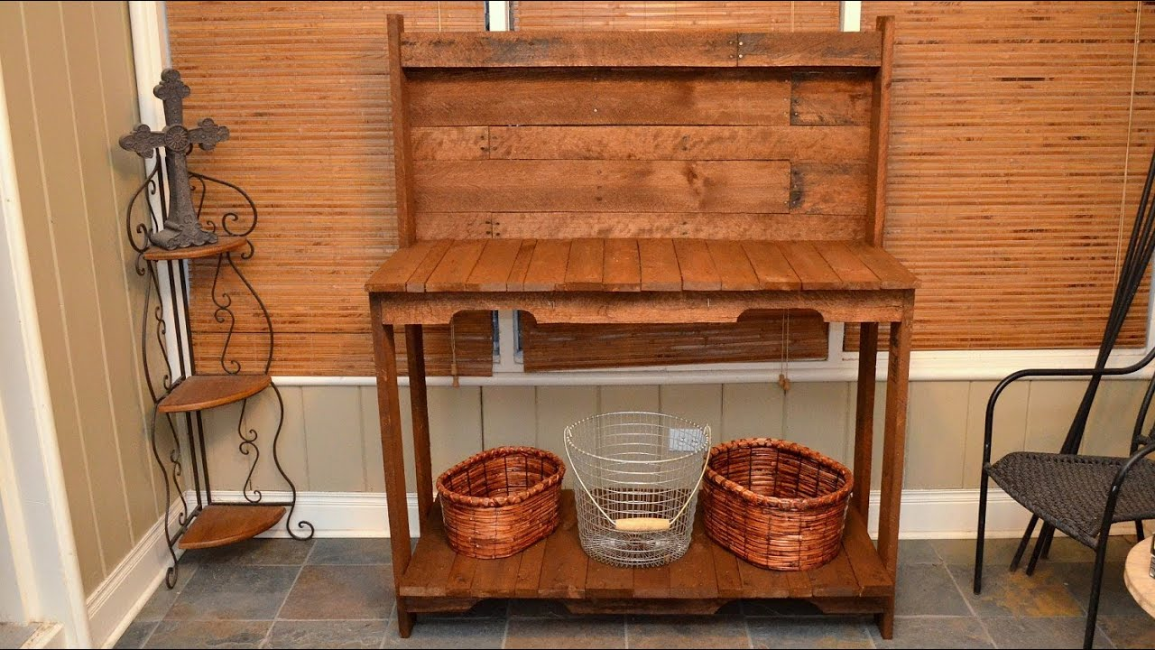 build a garden potting work table for free out of old wood pallets youtube - Garden Work Bench