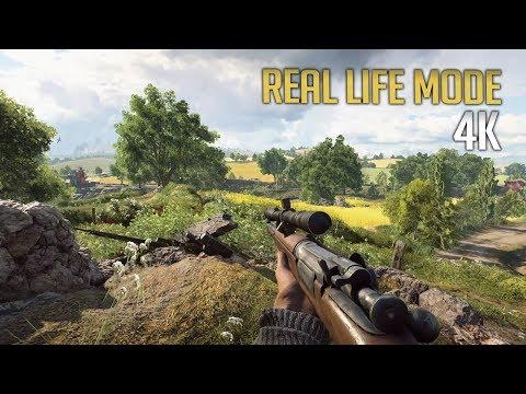 Battlefield V Real Life Mode - 4K Sniping - No HUD Immersion