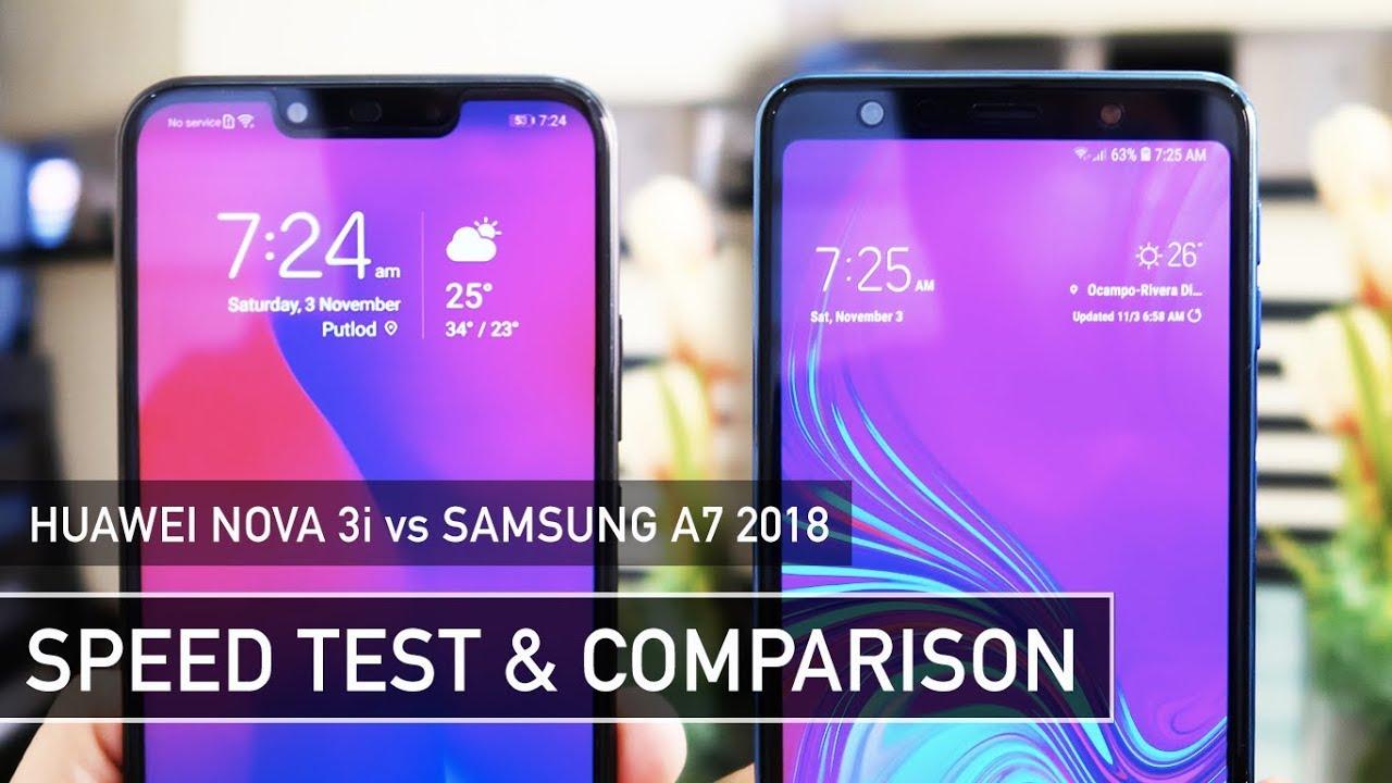Huawei Nova 3i vs Samsung A7 2018 SPEED TEST | Zeibiz