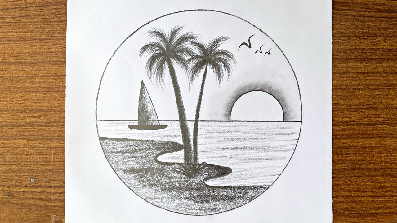 Easy scenery drawing // Easy sunset drawing // Easy drawing for beginners step by step with pencil