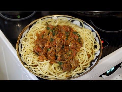 Итальянская паста с мясом говядина (телятина) и овощным соусом