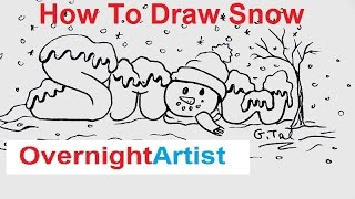 How To Draw Snow Bubble Letters Winter Scene Drawing