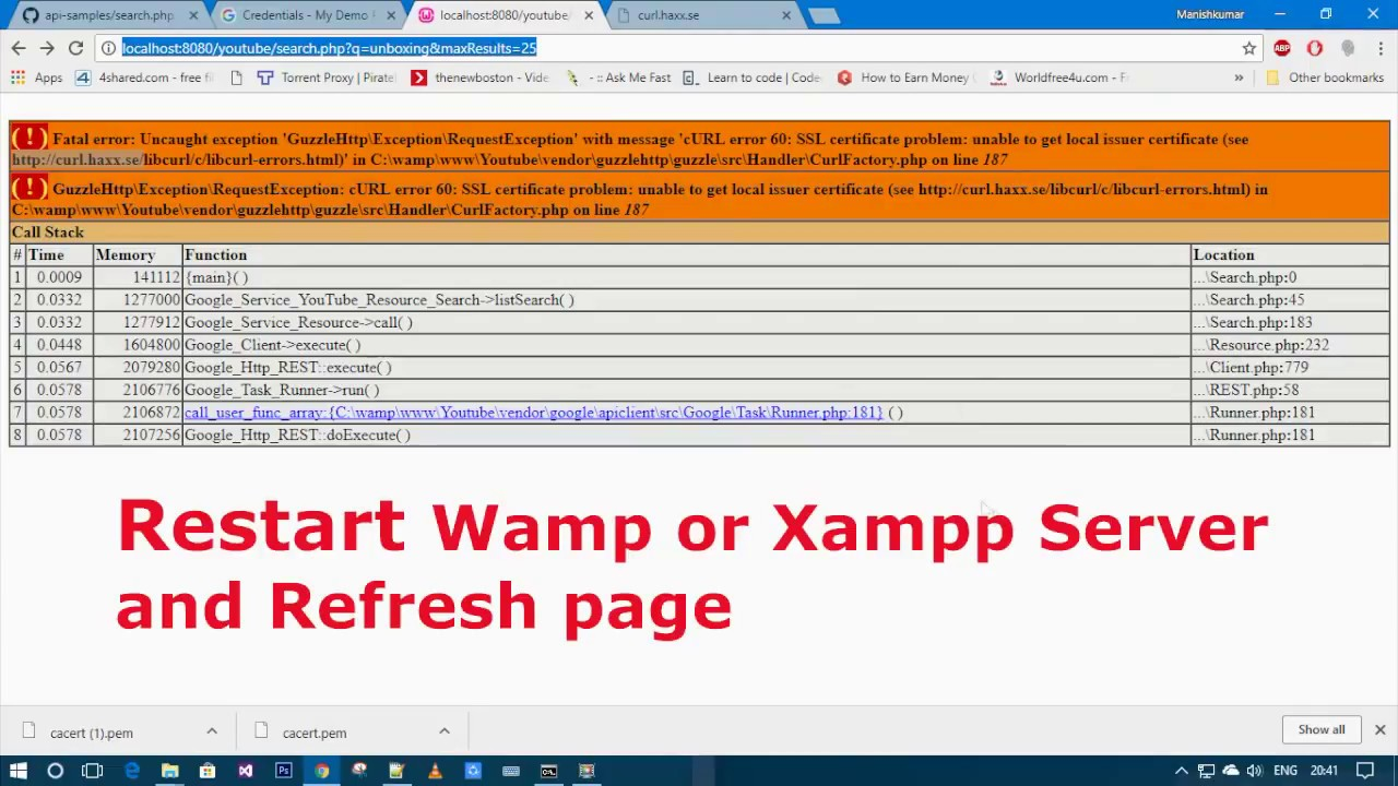 How To Solve Curl Error 60 Ssl Certificate Problem Wamp Or Xampp