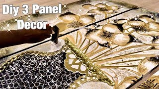 HOW TO MAKE A 3 PANEL LUXURY WALL ART DECOR!
