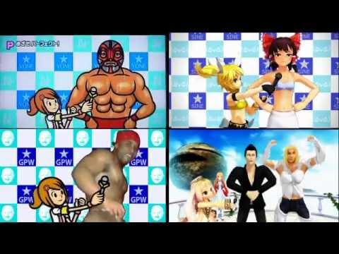 みんなのリズム天国 レスラー会見 4動画比較Rhythm HeavenWrestler