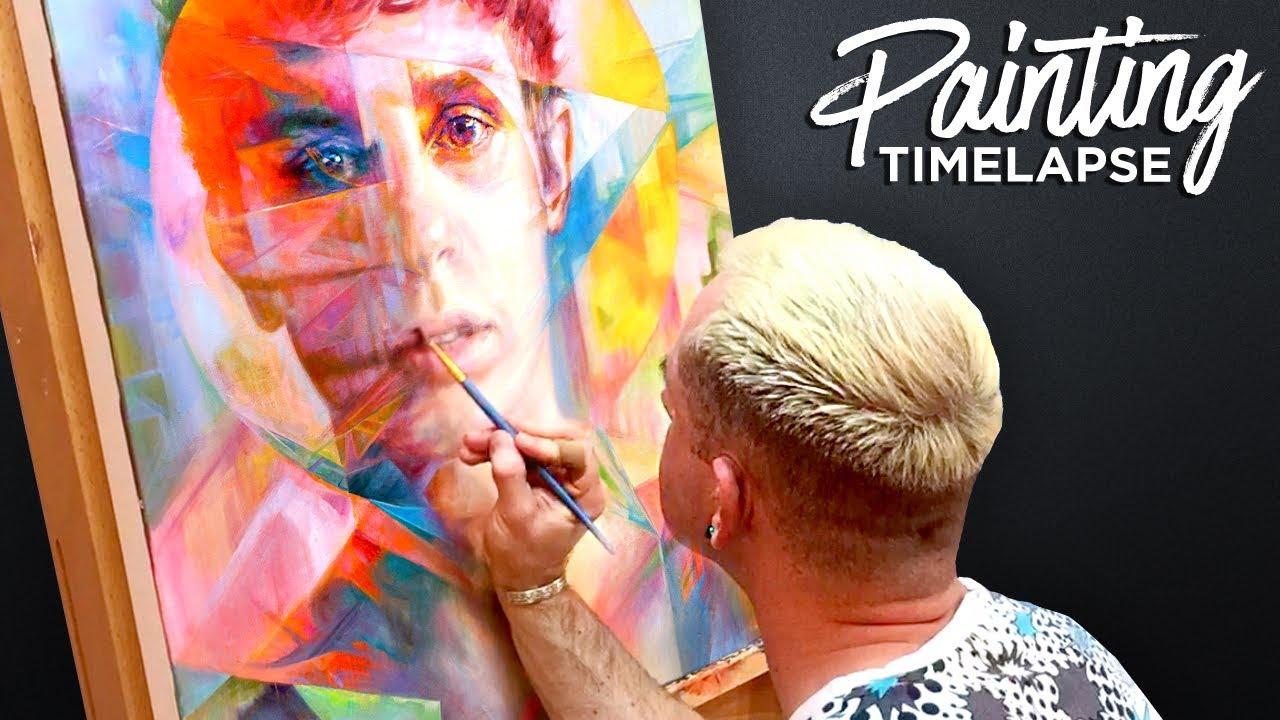 time lapse oil painting fluorescent surreal portrait studio sneak