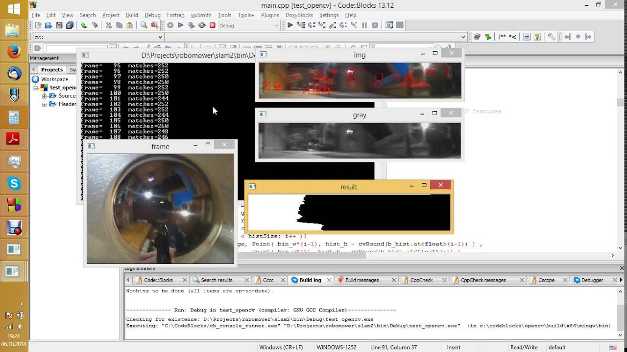 OpenCV - 360 degree camera - feature points - matching score