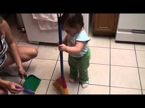 Grace's new broom and dust pan from Grammy & Grampy