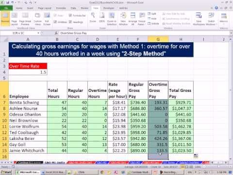 Excel  Business Math  Overtime Calculations  Examples  Youtube