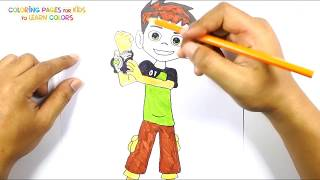 How to draw Ben Tennyson from Ben 10 Step by Step Coloring Pages