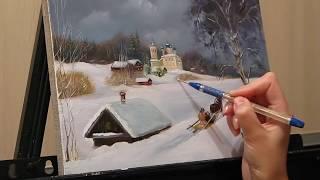 Уроки живописи маслом. Part 2. Зимний пейзаж