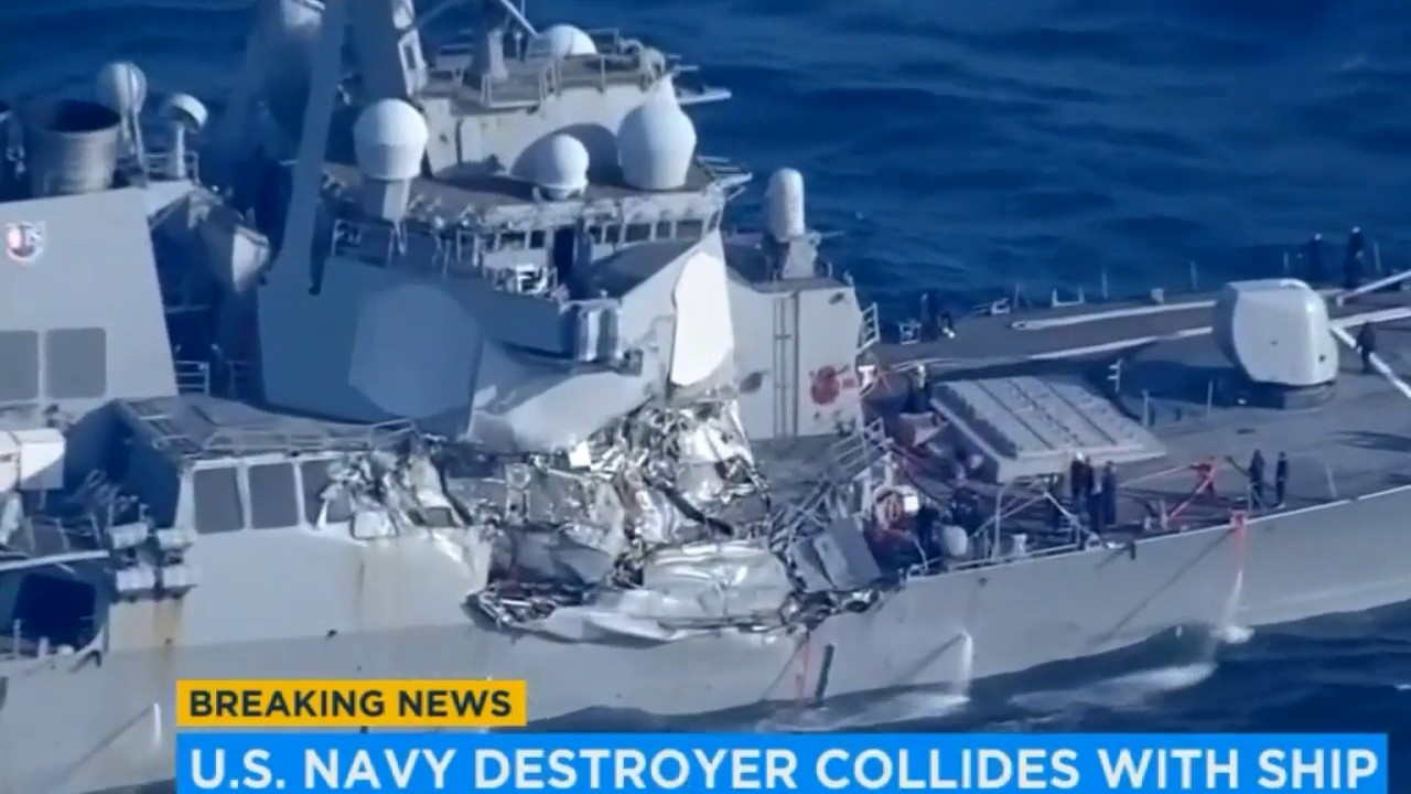 US Navy says flooding stabilized on USS Fitzgerald after collision; 2nd Navy ...