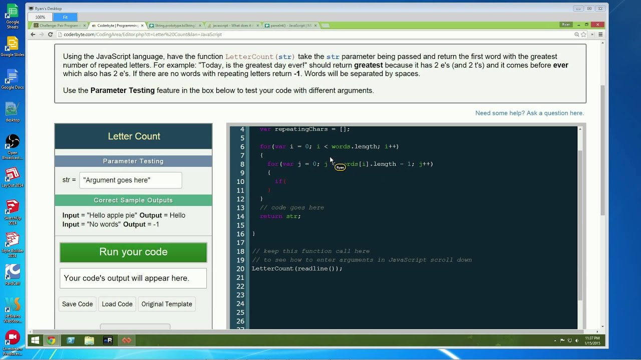 Live Code - Pair Programming - CoderByte Challenge: Letter Count