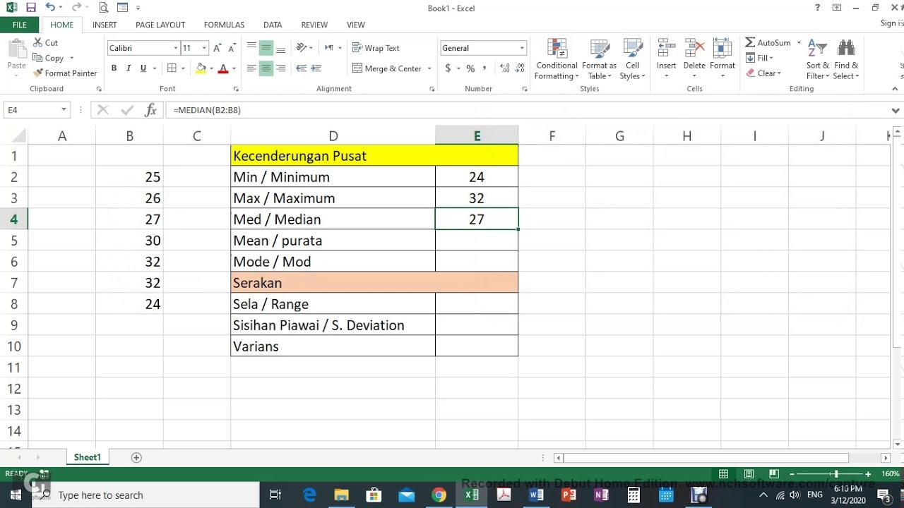Tutorial Statistik Deskriptif dengan Excel - Min, Med, Mod, Sisihan Piawai ( Dr Bulat)