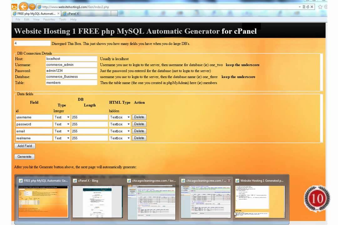 PHP MySQL Automatic Script Generator
