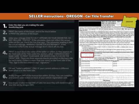 Transfer Oregon Title - SELLER Instructions