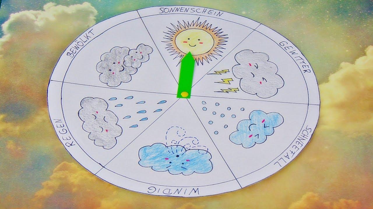 Basteln Wetter Uhr Kinderuhr Aus Papier Basteln Make A Weather Wheel Kawaii