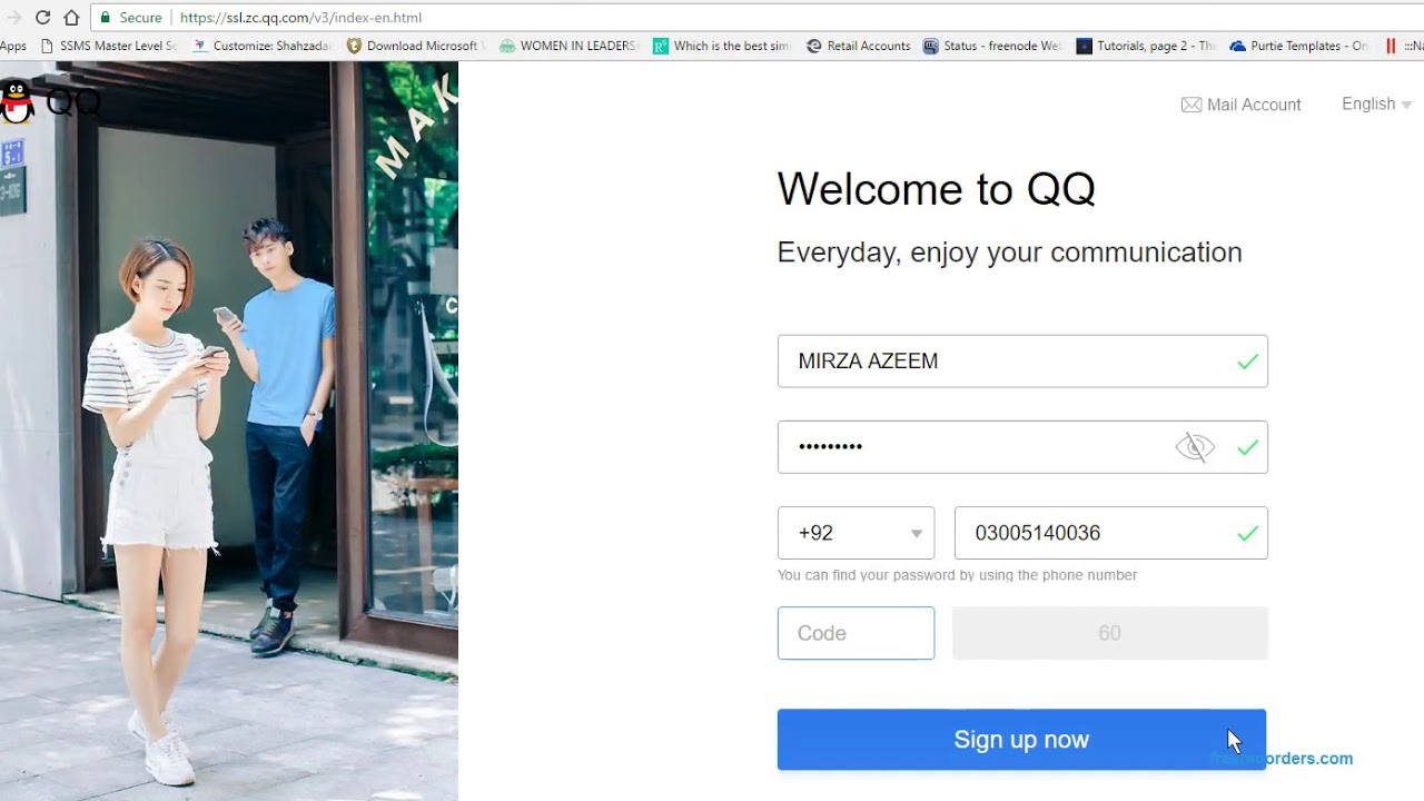HOW TO CREATE QQ ACCOUNT USING MOBILE NUMBER