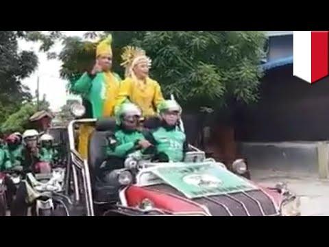 Pernikahan unik: pasangan driver Gojek Medan menikah dan diarak keliling kampung - TomoNews Mp3