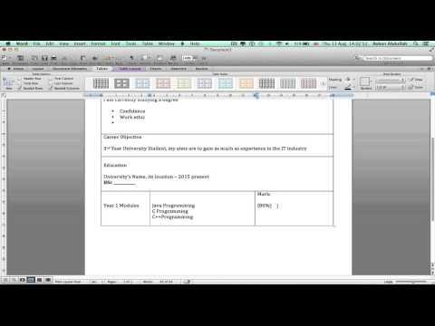 how to make create write a 2 page cv on microsoft word