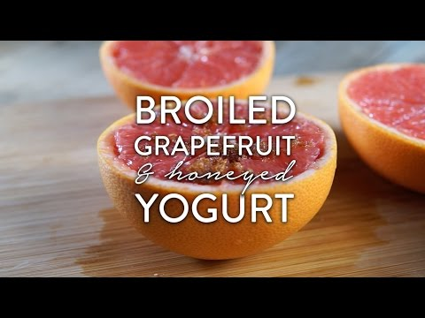 Broiled Grapefruit with Honeyed Yogurt and Granola Video Recipe by Broke and Cooking