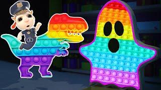 👻 Kids play Pop It Challenge | Ghost vs Dinosaurs | Hot vs Cold: Stories For Kids + Nursery Rhymes