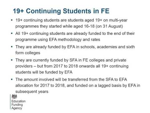 Education Funding Agency: 2017 to 2018 post-16 funding allocations