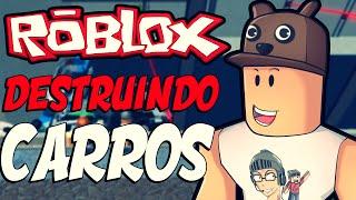 ROBLOX-Destroying cars (Car crushers)