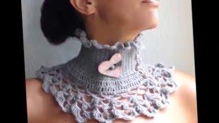 Женский вязаный шарф воротник  Фото