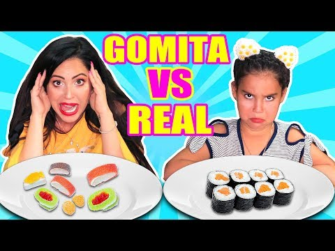 Comida de GOMA vs REAL con Mia! Sushi, Tacos, Pizza, Hamburguesas  Food Challenge SandraCiresArt