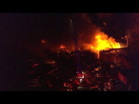 Fire burns at junkyard in Southwest Detroit