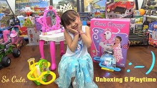Toy Channel: Little Girl's Pink Vanity Dresser Play Set Unboxing & Playtime. Toy Cars and Trains Set