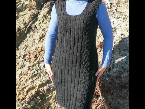 Вязаный спицами зимний сарафан