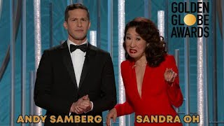 Download Andy Samberg & Sandra Oh monologue + funny bits | The Golden Globes 2019 Mp3 and Videos