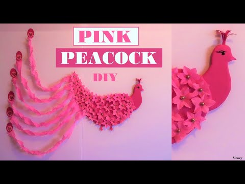 PINK PEACOCK MADE OUT OF FLOWERS BACKDROP | EASY PARTY DECORATION DIY